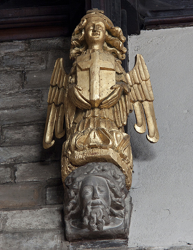View of one of the carved angels.