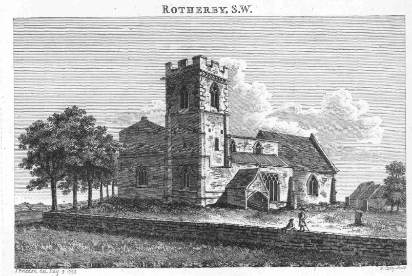 Rotherby Church  engraving late 18th century