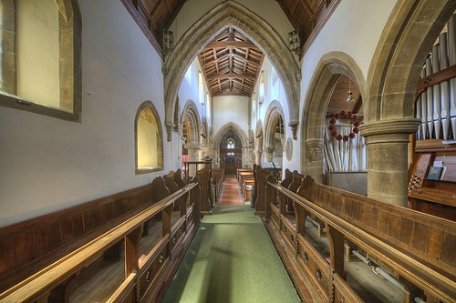 Victorian built nave for all intents and purposes with organ chamber & vestry to right.